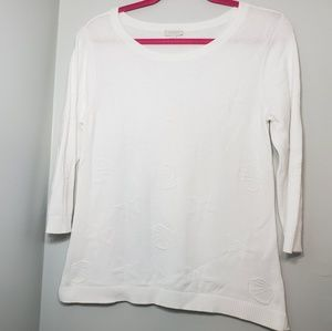 Talbots white knit embroidered shell top
